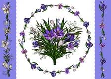 r Floral πρότυπο της floral δέσμης, στεφάνι των κρίνων και των κρόκων και σύνορα που απομονώνονται στο λευκό απεικόνιση αποθεμάτων