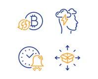 R?g?n?rez l'ensemble d'ic?nes de bitcoin, d'effort de sonnette d'alarme et de Mindfulness Signe de la livraison de colis Vecteur illustration libre de droits