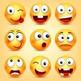 r Geel gezicht met emoties Grappig gezicht 3d realistische emoji Grappig beeldverhaalkarakter stemming vector illustratie