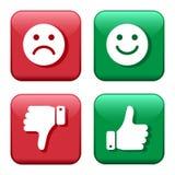 R?gl? boutons rouges et verts d'ic?nes ?motic?nes de smiley positives et n?gatives Pouce en haut et en bas Comme et aversion Vect illustration libre de droits