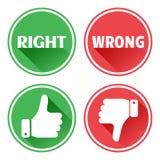 R?gl? boutons rouges et verts d'ic?nes Pouce en haut et en bas Droit et mal Vecteur illustration libre de droits