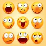 r Gul framsida med sinnesrörelser Roligt vända mot realistisk emoji 3d roligt tecknad filmtecken mood vektor illustrationer