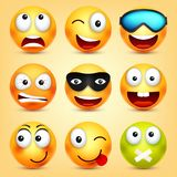 r Gul framsida med sinnesrörelser Roligt vända mot realistisk emoji 3d roligt tecknad filmtecken mood royaltyfri illustrationer
