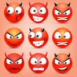r Gul framsida med sinnesrörelser Roligt vända mot realistisk emoji 3d roligt tecknad filmtecken mood stock illustrationer
