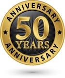 50 år guld- etikett för årsdag, vektor Arkivbilder