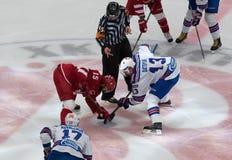 R. Horak (1) vs P. Datsyuk (13) on faceoff. PODOLSK, RUSSIA - NOVEMBER 11, 2016: R. Horak (1) vs P. Datsyuk (13) on faceoff on hockey game Royalty Free Stock Photo