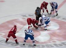 R. Horak (1) vs P. Datsyuk (13) on faceoff. PODOLSK, RUSSIA - NOVEMBER 11, 2016: R. Horak (1) vs P. Datsyuk (13) on faceoff on hockey game Royalty Free Stock Image