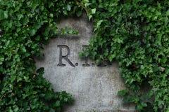r I P Buchstaben graviert in der grauen Steinfinanzanzeige lizenzfreie stockfotografie
