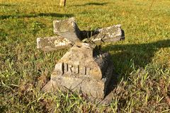 R.I.P. inscribed in an old grave marker stock photography
