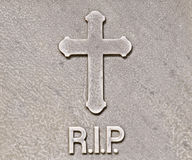 R.I.P. tombstone. A closeup of a tombstone with R.I.P. on it Royalty Free Stock Photos