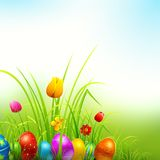 28 03 14 r4. Illustration of colorful decorated easter eggs in grass Royalty Free Stock Photos