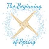 r Imbolc Στεφάνι snowflakes με το σταυρό της Brigid Διανυσματική κάρτα ελεύθερη απεικόνιση δικαιώματος