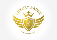 R inicjału symbolu inside osłona Królewski i luksusowy symbol Zdjęcie Royalty Free