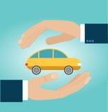 Ręka asekuracyjny agent ochrania samochód Obraz Stock