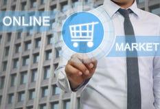 ręka biznesmena dotyk koszykowy loga wizerunek Obrazy Stock