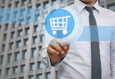 ręka biznesmena dotyk koszykowy loga wizerunek Zdjęcie Royalty Free