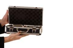 Ręka chwyta skrzynka z mikrofonem Obraz Royalty Free