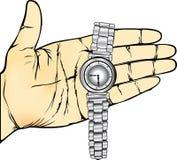 Ręka chwyta Wristwatch Obrazy Royalty Free