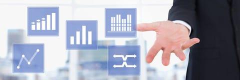 Ręka dotyka biznesowej mapy statystyki ikony Obraz Royalty Free