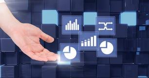 Ręka dotyka biznesowej mapy statystyki ikony Zdjęcie Royalty Free