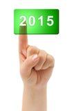Ręka 2015 i guzik Obraz Stock