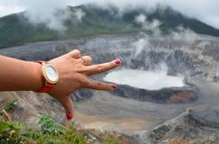 Ręka i wulkan Obraz Stock