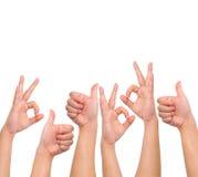 ręka kompilacyjni pozytywni znaki Zdjęcie Stock