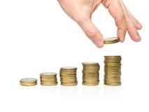 ręka monety. Zdjęcie Stock