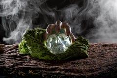 Ręka na Krystalicznej czaszce Zdjęcie Stock