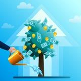 Ręka nawadnia monetarnego drzewa Obrazy Royalty Free