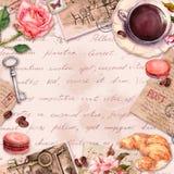 R?ka pisa? listy, kawa lub herbaciana fili?anka, macaroon torty, wzrastali kwiaty, znaczki, klucze Rocznik karta, puste miejsce,  royalty ilustracja