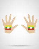 Ręka projekta Myanmar flaga Obraz Stock