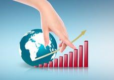 Ręka punktu biznesowy czerwony wykres i ziemia Zdjęcia Stock