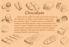 Ręka rysunek czekolada, wektorowa ilustracja Zdjęcie Royalty Free