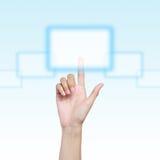 Ręka target520_1_ wirtualnego guzika Zdjęcia Stock