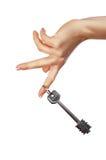Ręka trzyma klucz od domu Zdjęcia Royalty Free