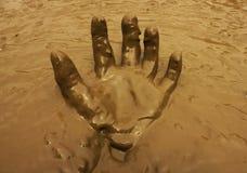 Ręka w borowinowym tle Zdjęcia Stock