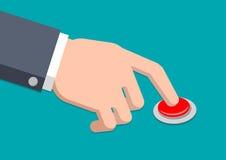 Ręka w kostium prasy guziku - Wektorowa ilustracja Ilustracja Wektor