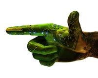 ręka wskazuje cyfrowa robot Obrazy Stock