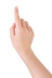 ręka wskazuje naciskowego macanie Fotografia Stock