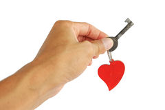 Ręka z serce kluczem serce Obrazy Stock
