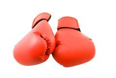 rękawice bokserskich odseparowana czerwony Obraz Stock