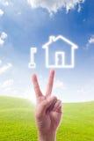 ręki domowej ikony kluczowy target484_0_ Zdjęcie Stock