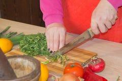 Ręki gotuje w kuchni zdrowym jedzeniu w domu Szef kuchni kobiety kucharstwo w kuchni Fotografia Royalty Free