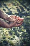 Ręki i woda w naturze Obrazy Royalty Free
