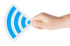 ręki ikony wifi Zdjęcia Royalty Free