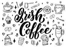 R?ki literowania imi? kawa z nakre?leniem dla sklep z kaw? lub kawiarni R?ka rysuj?cy rocznik typografii zwrot, odosobniony dalej ilustracji