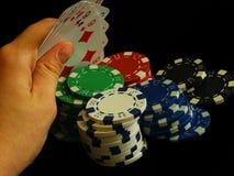 Ręki mienia karty na Czarnym tle Zdjęcia Stock
