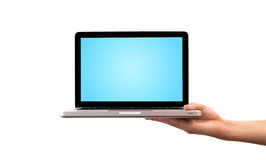 ręki mienia laptopu samiec Zdjęcia Royalty Free