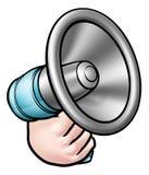 Ręki mienia megafonu kreskówka Zdjęcia Stock